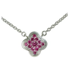 Van Cleef & Arpels Pure Alhambra Limited Pink Sapphire White Gold Necklace