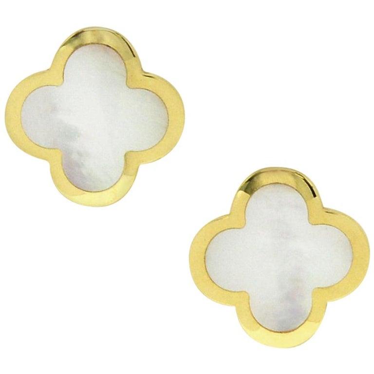 Van Cleef & Arpels Pure Alhambra Mother of Pearl Earrings Studs 18 Karat Gold