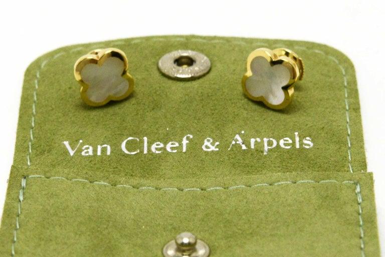 Mixed Cut Van Cleef & Arpels Pure Alhambra Mother of Pearl Earrings Studs 18 Karat Gold