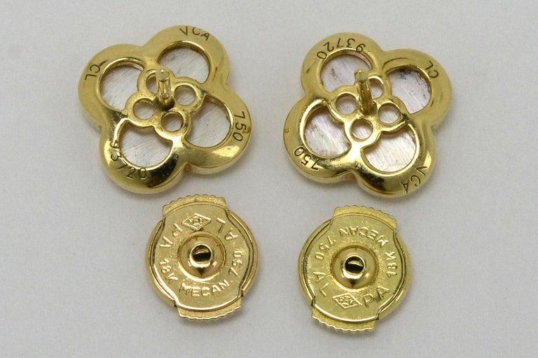 Van Cleef & Arpels Pure Alhambra Mother of Pearl Earrings Studs 18 Karat Gold In Good Condition In Santa Barbara, CA