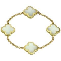 Van Cleef & Arpels Pure Alhambra Mother of Pearl Yellow Gold 4 Motif Bracelet