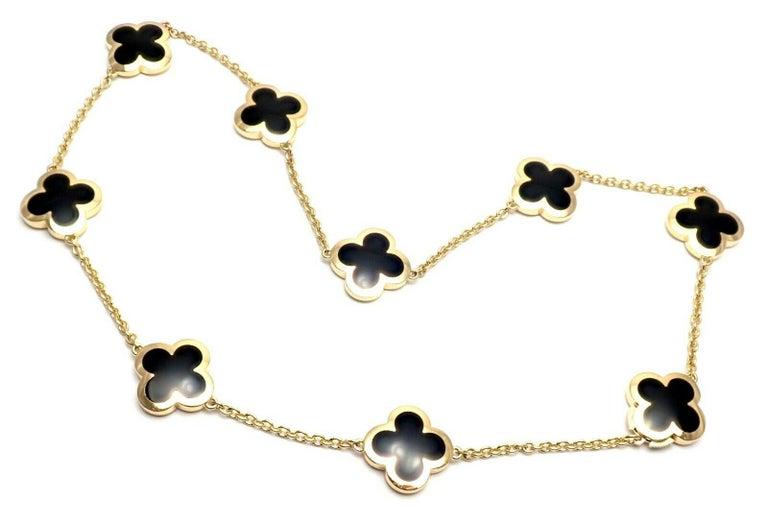 Uncut Van Cleef & Arpels Pure Alhambra Nine Motifs Black Onyx Necklace For Sale