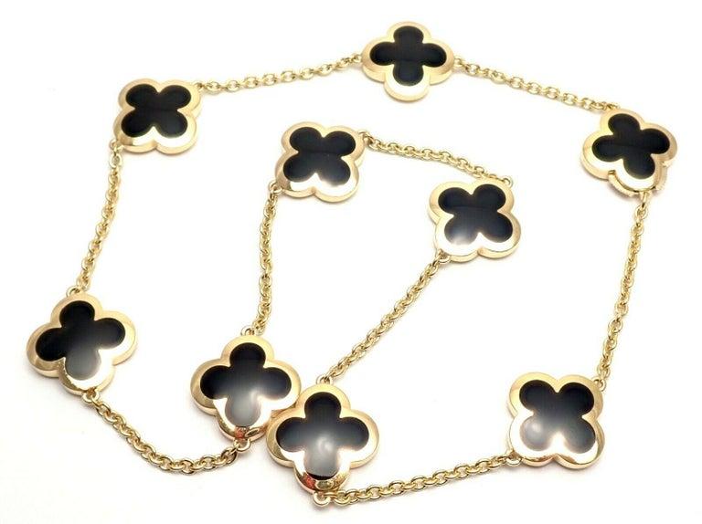 Women's or Men's Van Cleef & Arpels Pure Alhambra Nine Motifs Black Onyx Necklace For Sale