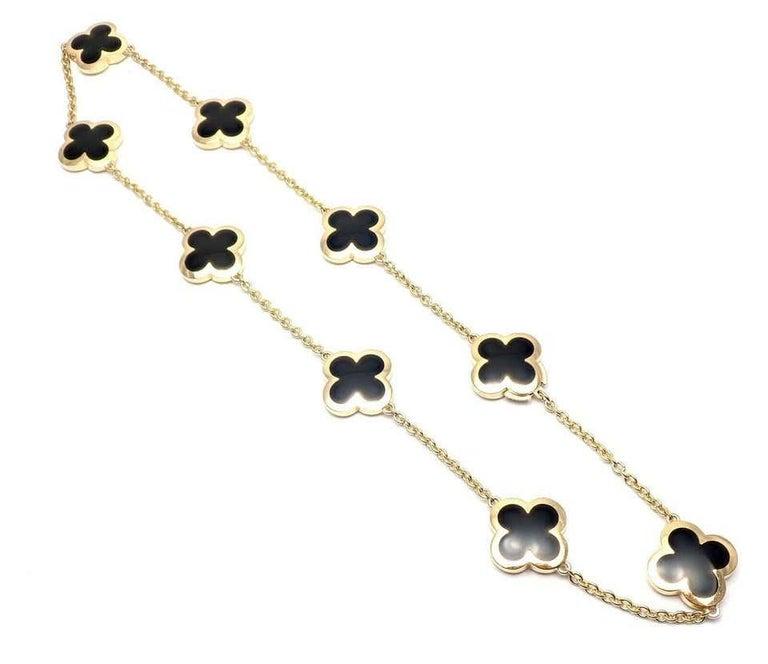 Van Cleef & Arpels Pure Alhambra Nine Motifs Black Onyx Necklace For Sale 3