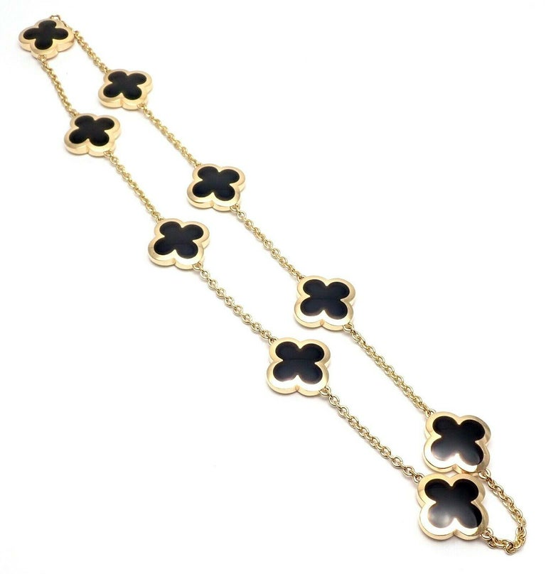 Van Cleef & Arpels Pure Alhambra Nine Motifs Black Onyx Necklace For Sale 4