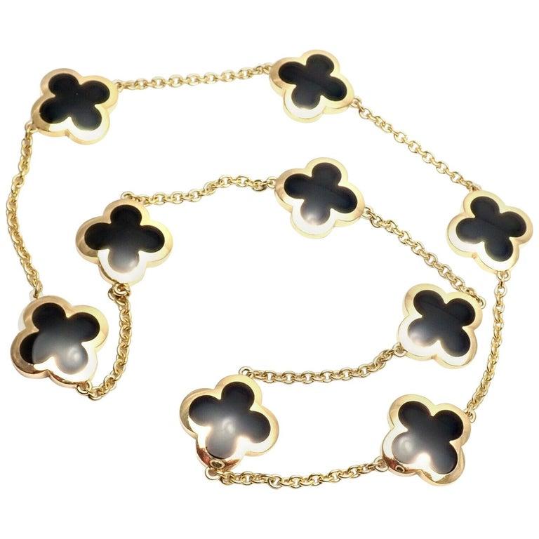 Van Cleef & Arpels Pure Alhambra Nine Motifs Black Onyx Necklace For Sale