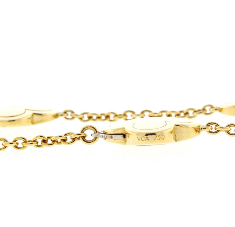 Women's or Men's Van Cleef & Arpels Pure Alhambra Yellow Gold 9 Station  Necklace For Sale