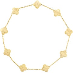 Van Cleef & Arpels Pure Alhambra Yellow Gold 9 Station  Necklace