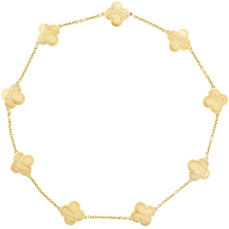 Van Cleef & Arpels Pure Alhambra Yellow Gold 9 Station  Necklace For Sale