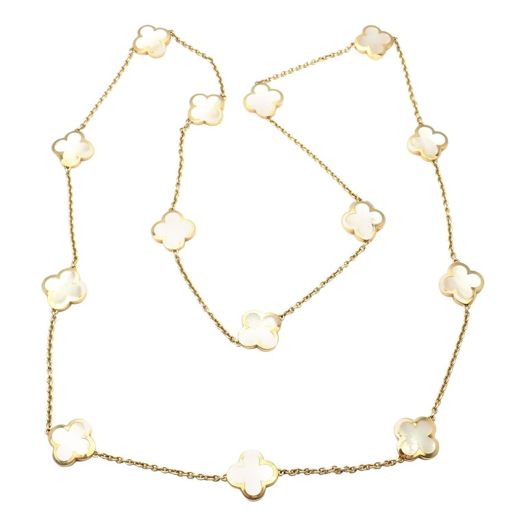 Van Cleef & Arpels Pure Mother of Pearl Alhambra Yellow Gold Necklace For Sale