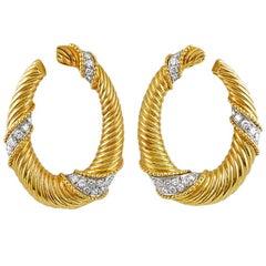 Van Cleef & Arpels Diamond Yellow and White Gold Reeded Twist Hoop Earrings