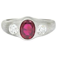 Van Cleef & Arpels Retro 2.55 Carat Ruby Diamond Platinum Men's Gypsy Ring
