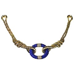Van Cleef & Arpels, Vintage Diamond and Lapis Lazuli Rope Twist Necklace in 18 K