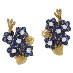 Van Cleef & Arpels Retro Gold, Diamond and Sapphire Bouquet Earrings