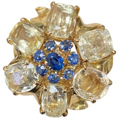 Van Cleef & Arpels Retro Yellow and Blue Sapphire Ring