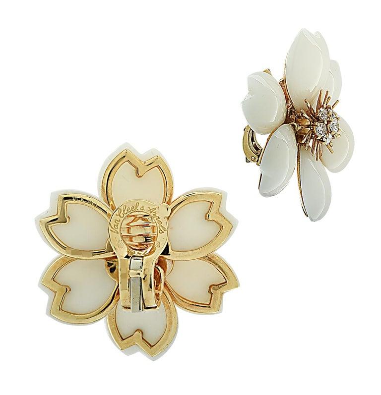 Van Cleef & Arpels Rose De Noel Coral and Diamond Earrings For Sale 3