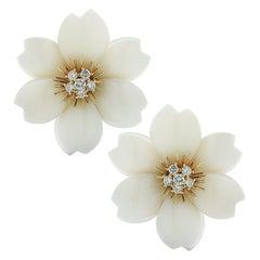 Van Cleef & Arpels Rose De Noel Coral and Diamond Earrings