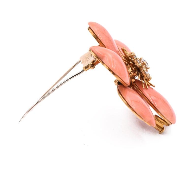 Van Cleef & Arpels 'Rose de Noel' Coral Brooch For Sale 1