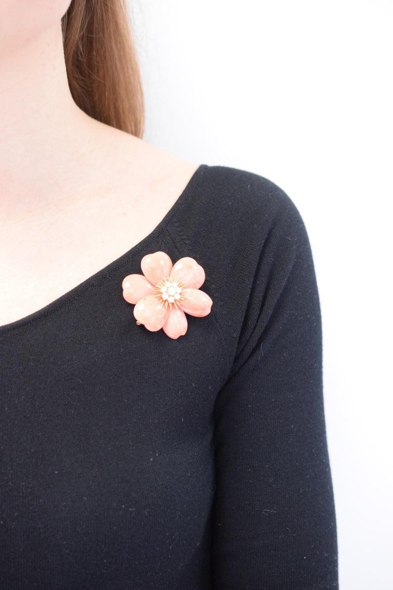 Van Cleef & Arpels 'Rose de Noel' Coral Brooch For Sale 2