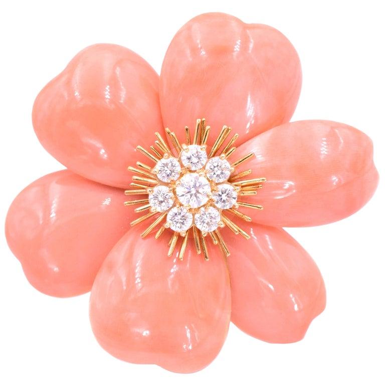 Van Cleef & Arpels 'Rose de Noel' Coral Brooch For Sale