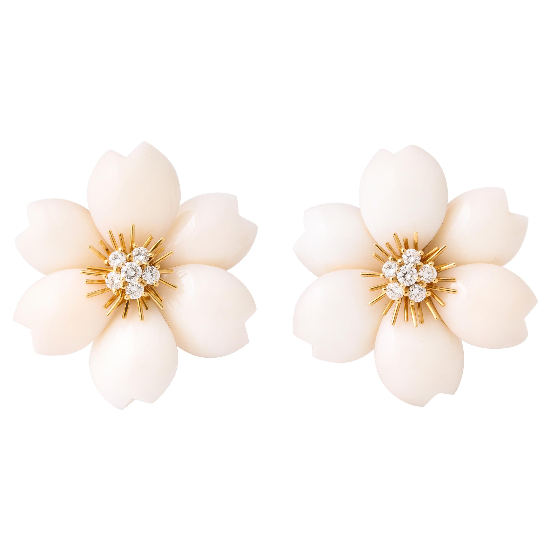 Van Cleef & Arpels Rose de Noel Coral Diamond Gold Earrings