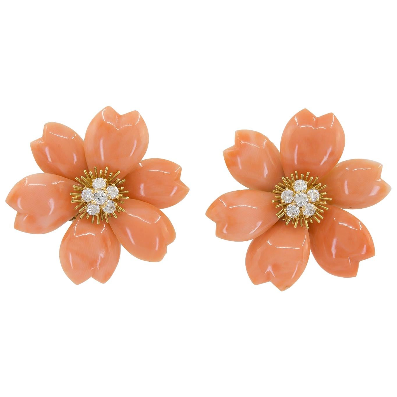 Van Cleef & Arpels Rose de Noël Diamond Coral Yellow Gold Medium Earrings