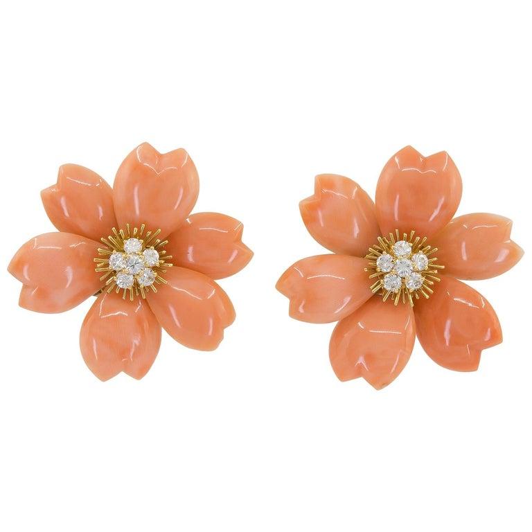 Van Cleef & Arpels Rose de Noël Diamond Coral Yellow Gold Medium Earrings  For Sale