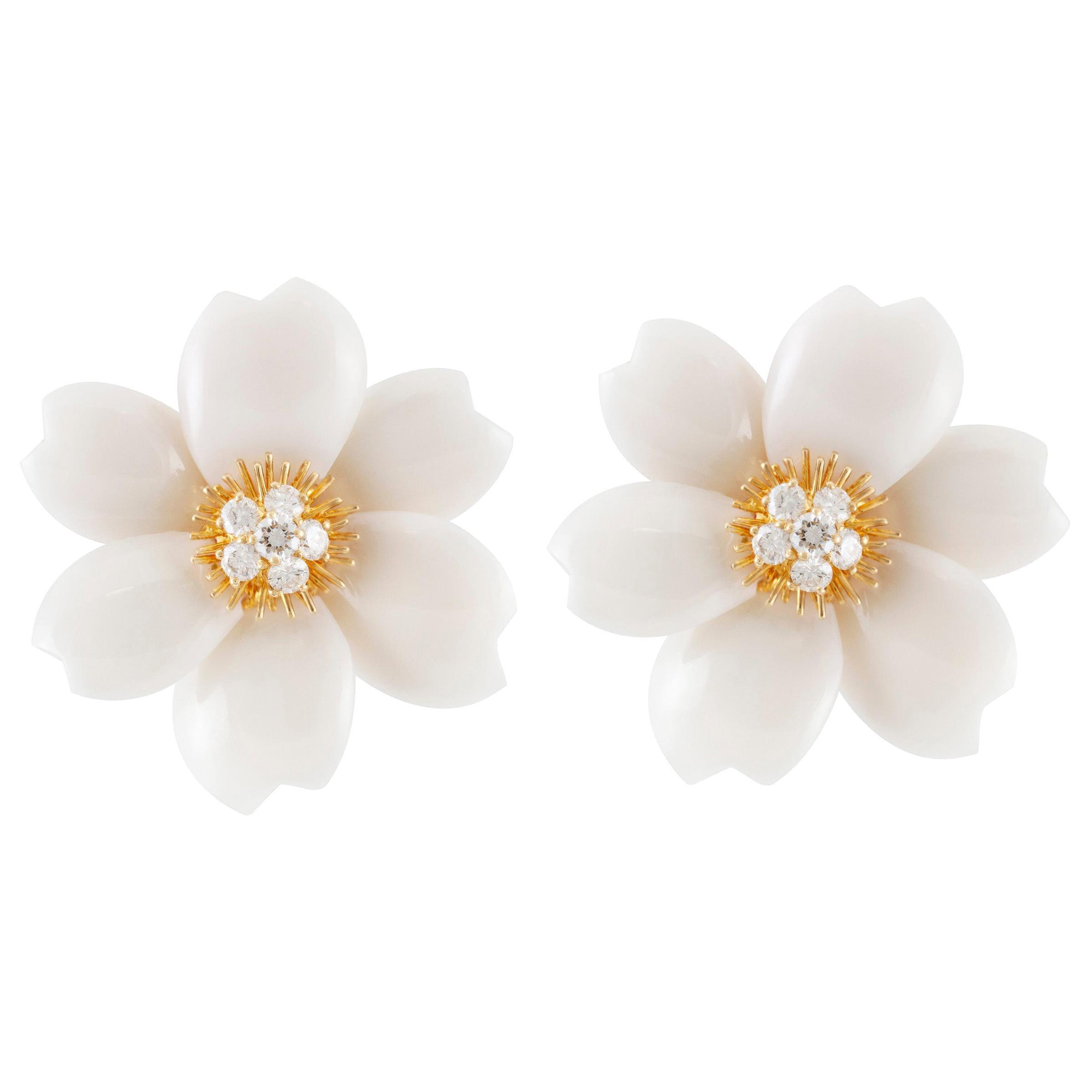 Van Cleef & Arpels Rose De Noel Diamond and White Coral Flower Yellow Gold