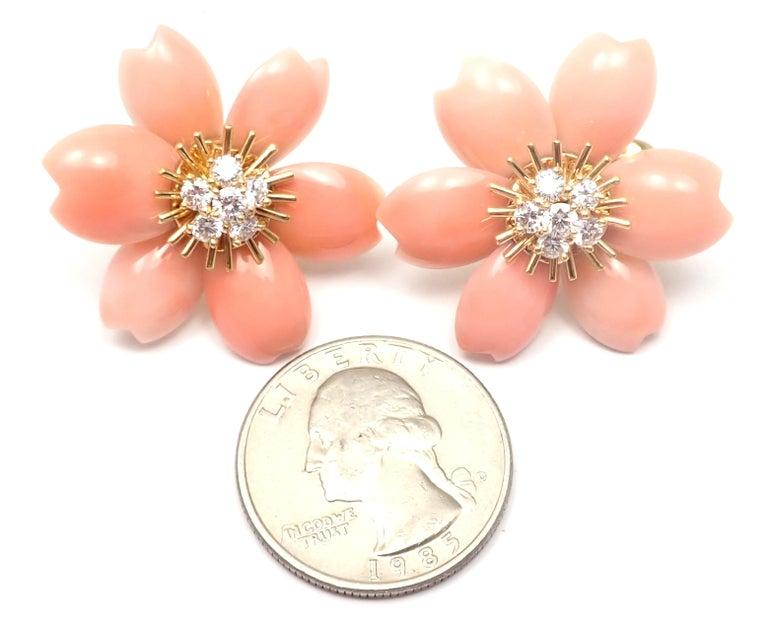 Van Cleef & Arpels Rose de Noel Diamond Coral Flower Yellow Gold Earrings For Sale 6