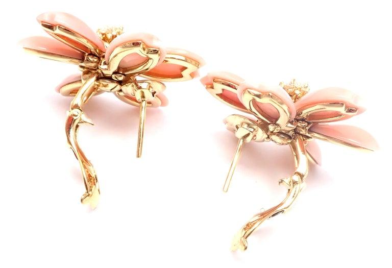 Women's or Men's Van Cleef & Arpels Rose de Noel Diamond Coral Flower Yellow Gold Earrings For Sale