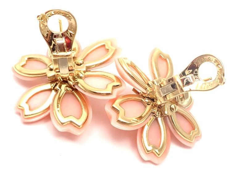 Van Cleef & Arpels Rose de Noel Diamond Coral Flower Yellow Gold Earrings For Sale 1