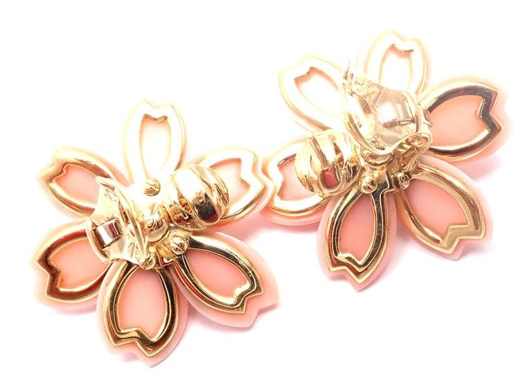 Van Cleef & Arpels Rose de Noel Diamond Coral Flower Yellow Gold Earrings For Sale 2