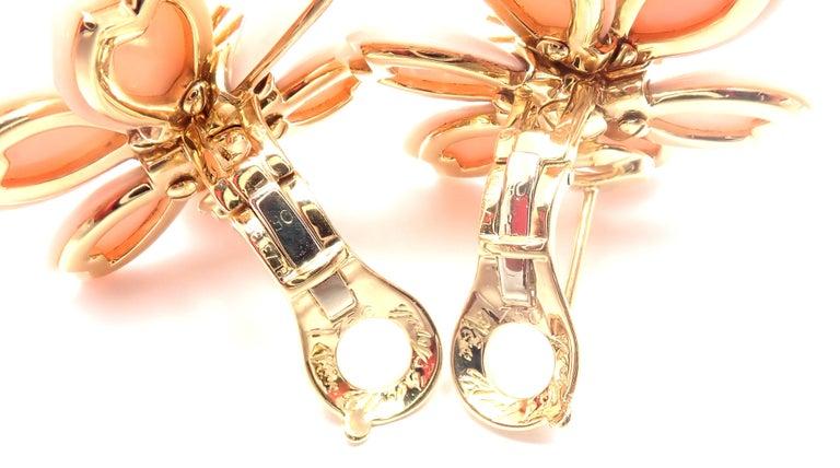 Van Cleef & Arpels Rose de Noel Diamond Coral Flower Yellow Gold Earrings For Sale 3