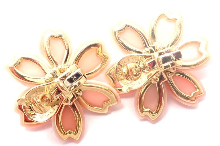 Van Cleef & Arpels Rose de Noel Diamond Coral Flower Yellow Gold Earrings For Sale 5