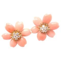 Van Cleef & Arpels Rose de Noel Diamond Coral Flower Yellow Gold Earrings