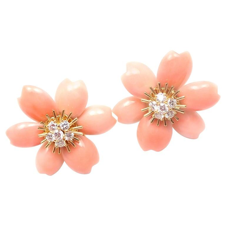 Van Cleef & Arpels Rose de Noel Diamond Coral Flower Yellow Gold Earrings For Sale