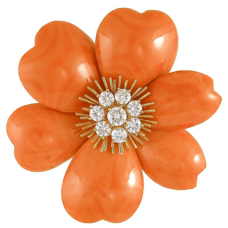 Round Cut Van Cleef & Arpels Rose de Noel Diamond Red Coral Suite For Sale