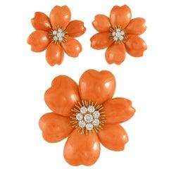 Van Cleef & Arpels Rose de Noel Diamond Red Coral Suite