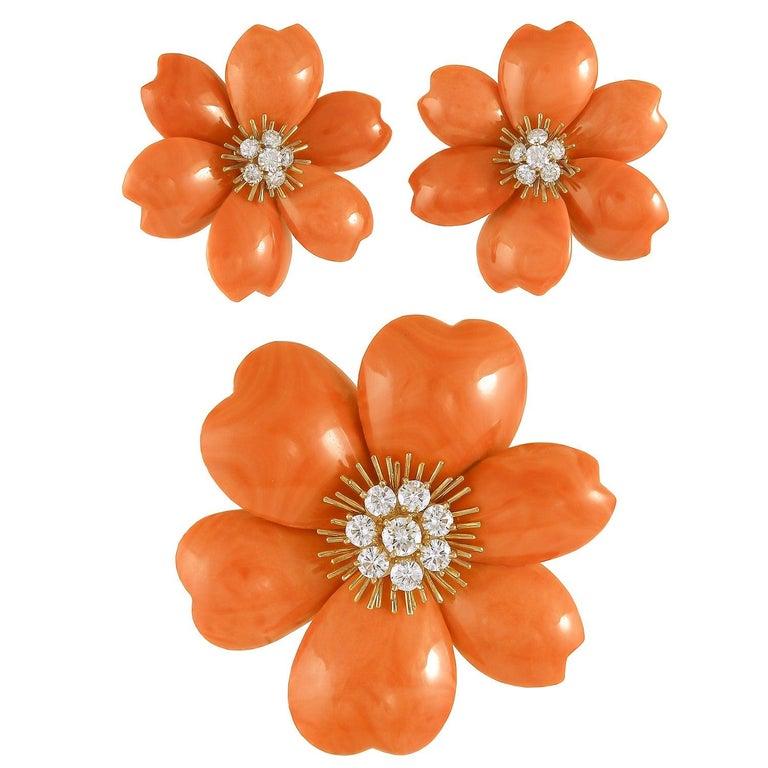 Van Cleef & Arpels Rose de Noel Diamond Red Coral Suite For Sale