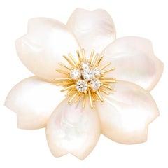 Van Cleef & Arpels Rose de Noel Mother of Pearl Diamond Gold brooch