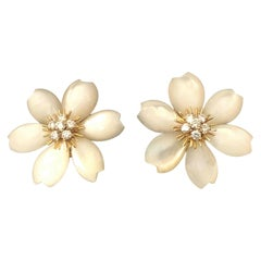 Van Cleef & Arpels Rose De Noel Mother of Pearl Gold and Diamond Flower Earrings