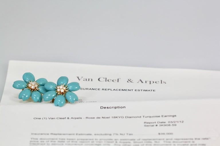 Artist Van Cleef & Arpels Rose de Noel Turquoise Earrings For Sale