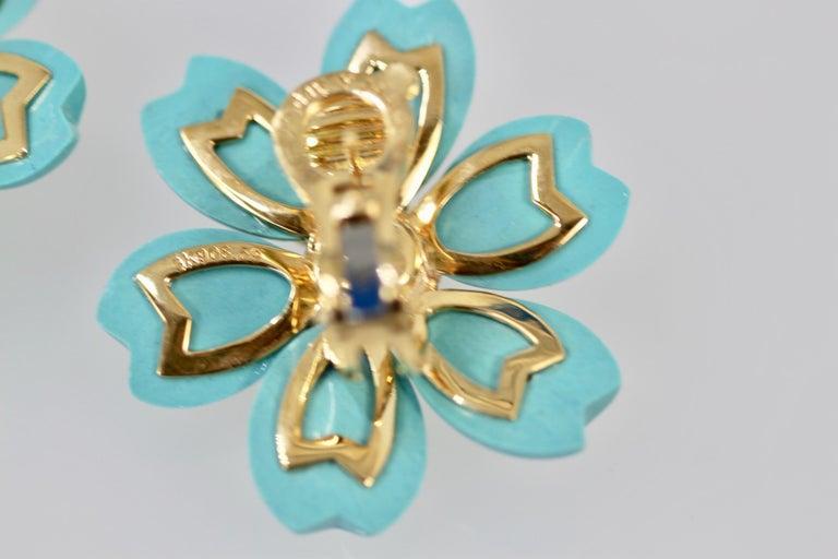 Van Cleef & Arpels Rose de Noel Turquoise Earrings In Good Condition For Sale In North Hollywood, CA