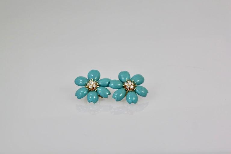 Women's Van Cleef & Arpels Rose de Noel Turquoise Earrings For Sale