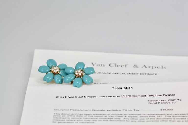 Van Cleef & Arpels Rose de Noel Turquoise Earrings For Sale 1