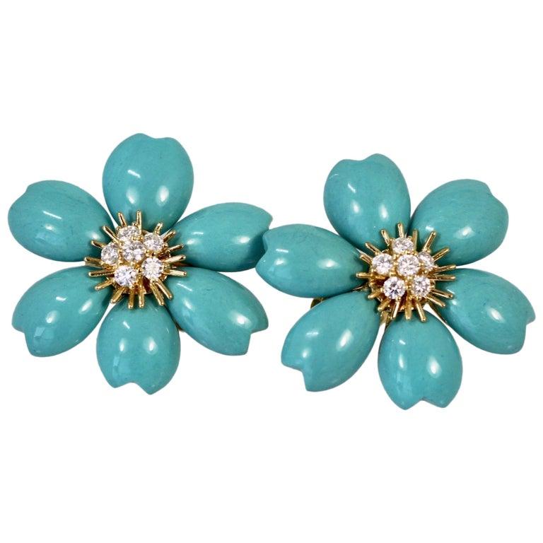 Van Cleef & Arpels Rose de Noel Turquoise Earrings For Sale
