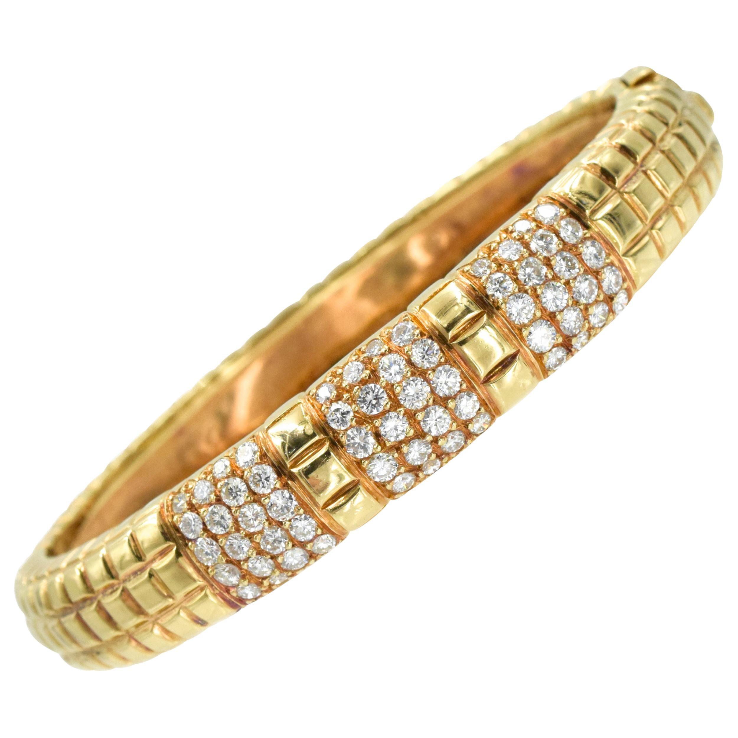 Van Cleef & Arpels Rose Gold and Diamond Bangle Bracelet, France