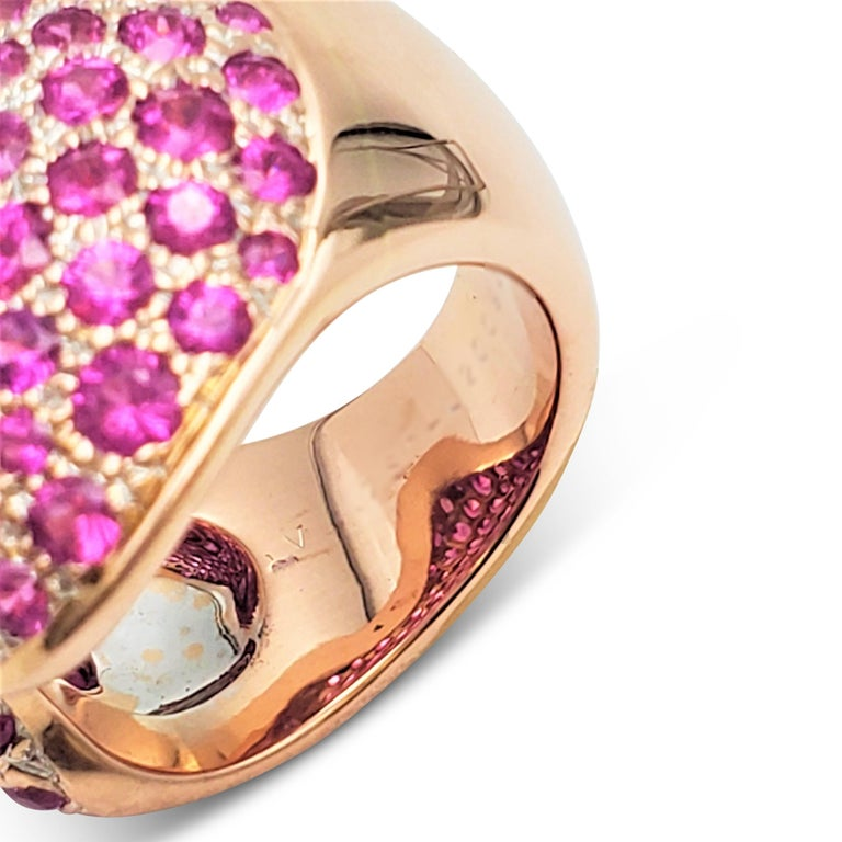 Van Cleef & Arpels Rose Gold and Pink Sapphire Ring For Sale 2