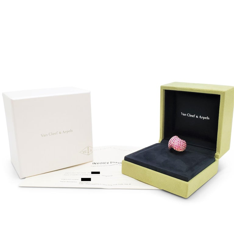Van Cleef & Arpels Rose Gold and Pink Sapphire Ring For Sale 4