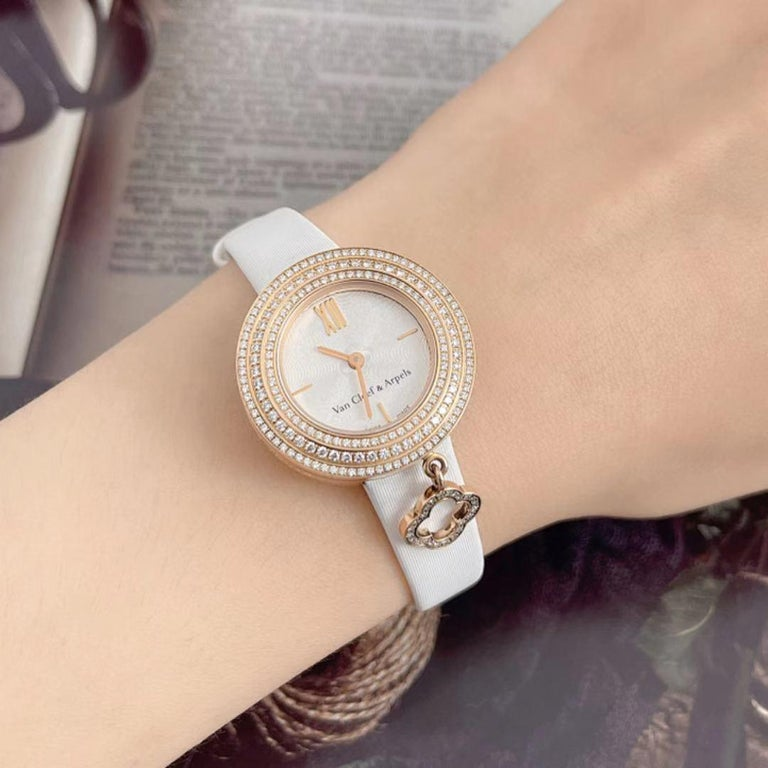Van Cleef & Arpels Rose Gold Charm Diamond Watches VCARO29700 For Sale 2